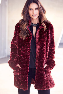 Kaleidoscope Hi Collar Faux Fur Coat