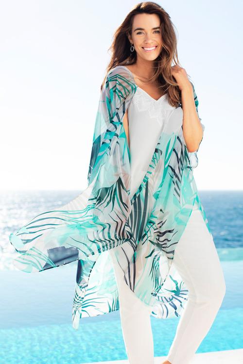 Plus Size - Sara Printed Kimono