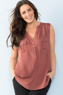 Plus Size - Sara Sleeveless Pocket Shirt