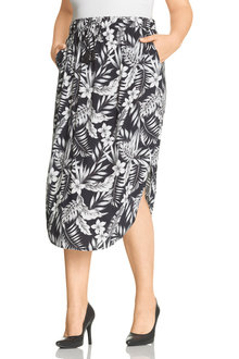 Plus Size - Sara Scoop Hem Skirt - 214253