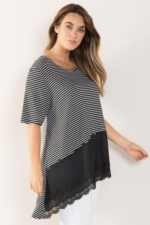 Plus Size - Sara Lace Hem Top