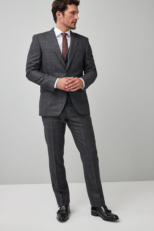 Next Tailored Fit Signature Check Suit: Jacket