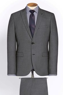 Next Grey Tailored Fit Wool Blend Suit: Jacket - 214333