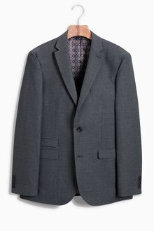 Next Regular Fit Check Wool Blend Suit: Jacket - 214335