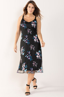 Plus Size - Sara Embroidered Slip Dress