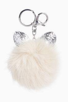Next Glitter Cat Ears Pom Keyring