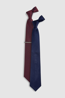 Next Spot And Plain Ties Two Pack With Tie Clip - 214572