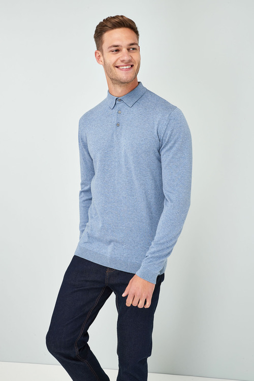 Next Long Sleeve Knitted Polo