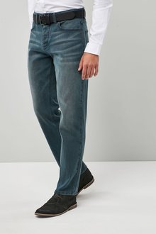 Next Stretch Belted Jeans - Straight Fit
