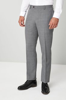 Next Wool Blend Check Trousers - Regular Fit