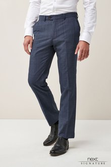 Next Wool Blend Check Slim Fit Trousers
