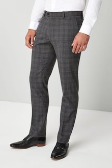 Next Signature Wool Blend Check Slim Fit Trousers