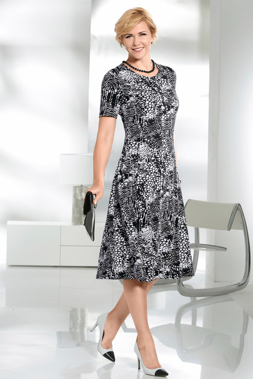 Capture European Printed A-Line Dress