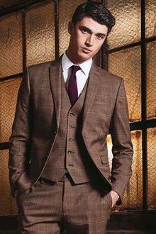 Next Slim Fit Check Suit Jacket