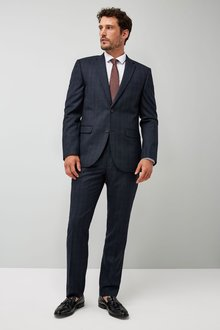 Next Tailored Fit Check Wool Blend Suit: Jacket - 214806