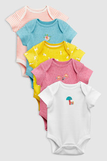 Next Woodland Short Sleeve Bodysuits Five Pack (0mths-2yrs)