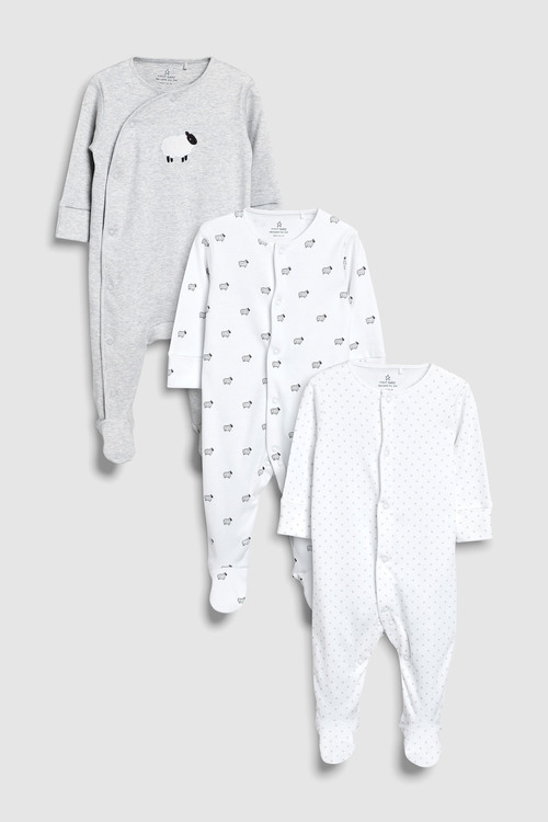 Next Delicate Sheep Sleepsuits Three Pack (0-12mths)