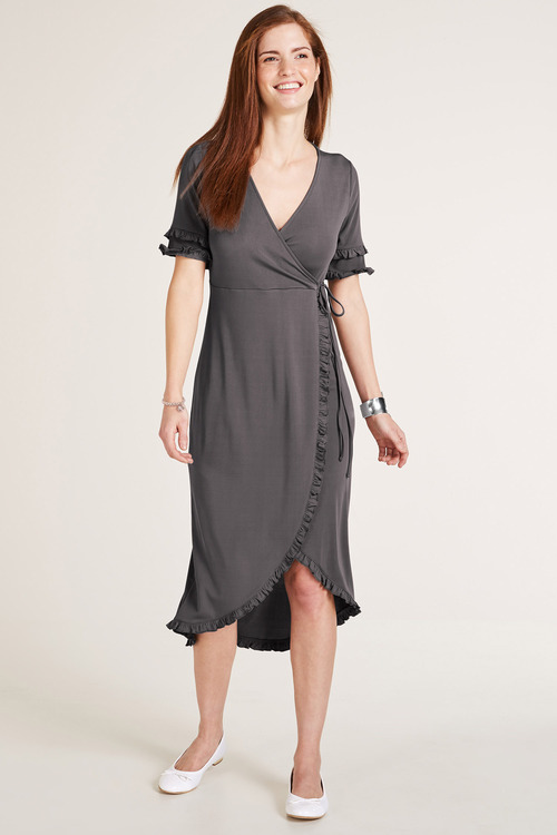 Heine Ruffle Hem Wrap Dress