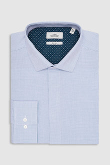 Next Textured Concealed Placket Slim Fit Shirt