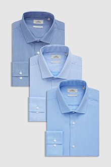 Next Texture And Stripe Shirts Three Pack - Slim Fit Single Cuff