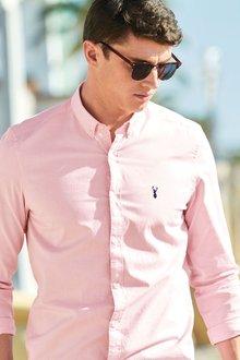 Next Slim Fit Long Sleeve Stretch Oxford Shirt - 214899