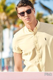 Next Slim Fit Short Sleeve Stretch Oxford Shirt - 214901