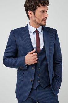 Next Slim Fit Signature Stripe Suit: Jacket - 214913