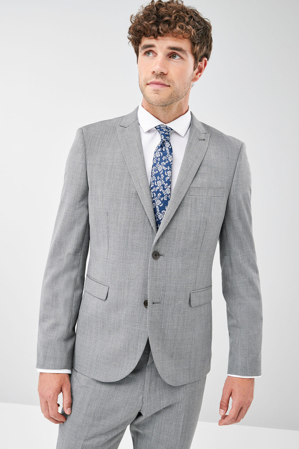 83ce06eb5bf Next Signature Textured Tailored Fit Suit  Jacket - Skinny Fit ...