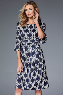Kaleidoscope Fluted Cuff Dress - 215175