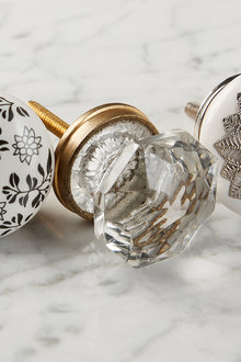 Estate Round Glass Knob Set of 2