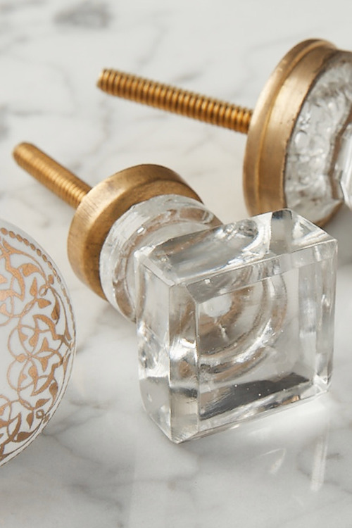 Nottingham Square Glass Knob Set of 2