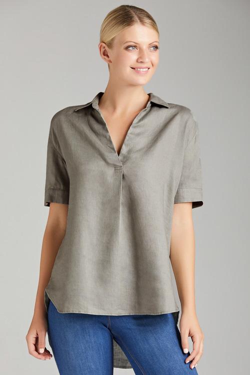 Capture Linen Half Placket Shirt