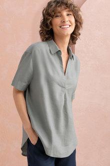 Capture Linen Half Placket Shirt - 215550
