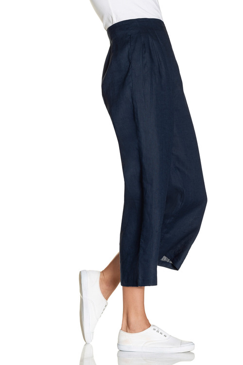 Capture Linen Pleat Front Waist Crop Pant
