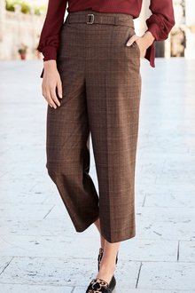 Next Check Wide Cropped Trousers