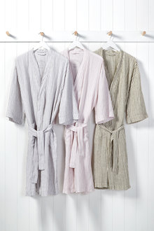Hampton Stripe Linen Bathrobe - 215827