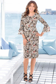 Euro Edit Printed Flute Sleeve Dress