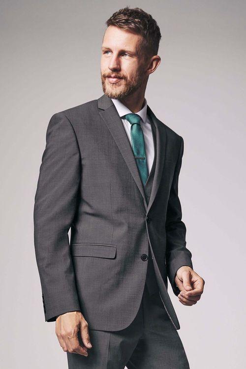 Next Wool Blend Stretch Suit: Jacket - Regular Fit