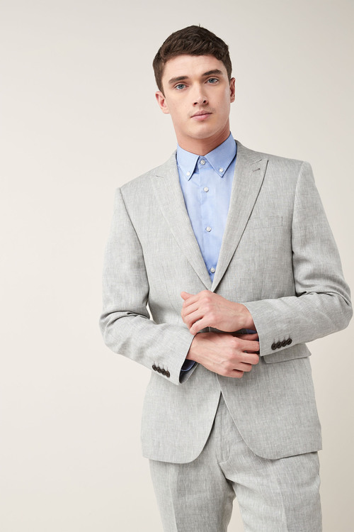 Next Signature Linen Suit: Jacket - Tailored Fit