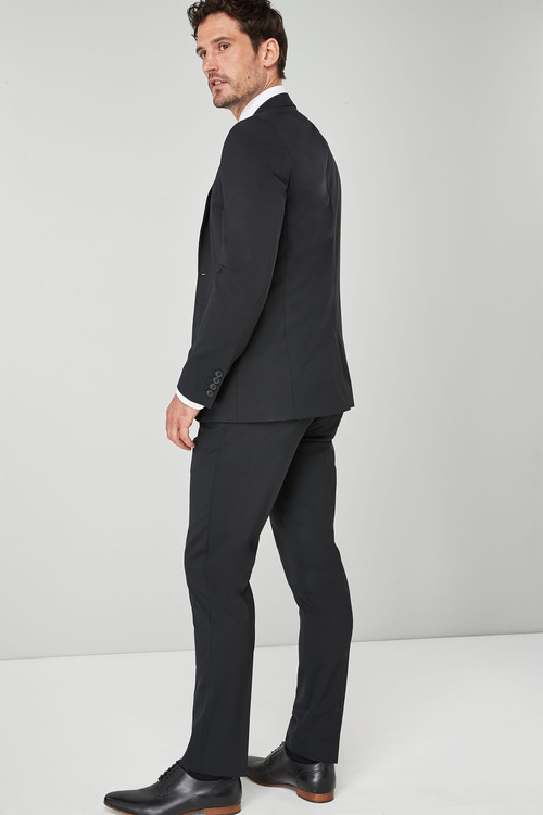 Next Wool Blend Stretch Suit: Jacket - Tailored Fit