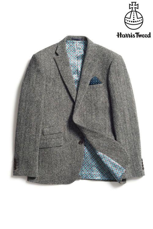 Next Harris Tweed Herringbone Tailored Fit Wool Jacket