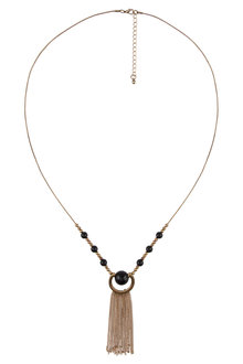 Amber Rose Tassel Ball Necklace
