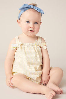 Pumpkin Patch Strip Seersucker Romper