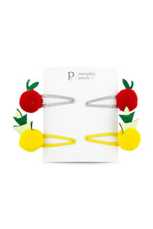 Pumpkin Patch Pom Pom Fruit Clips 4-Pack