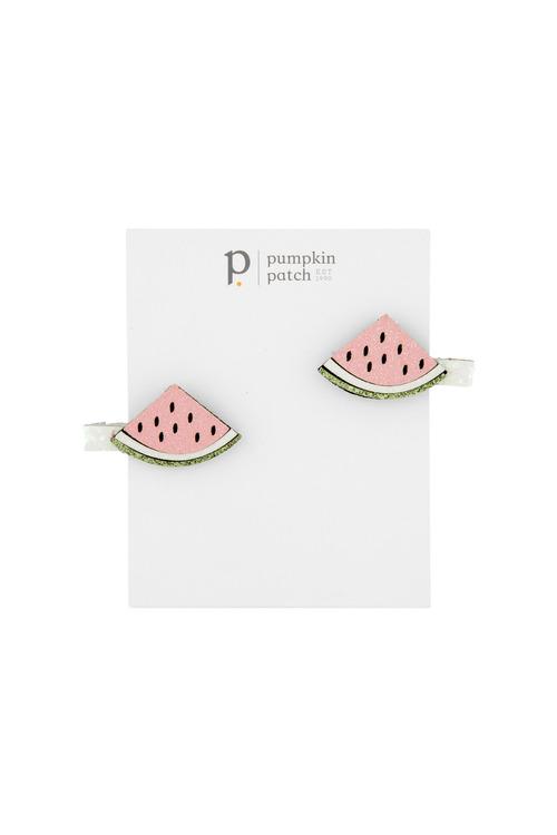 Pumpkin Patch Glitter Waternelon Clips 2-Pack
