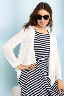 Capture Pointelle Detail Fine Knit Cardigan - 216321