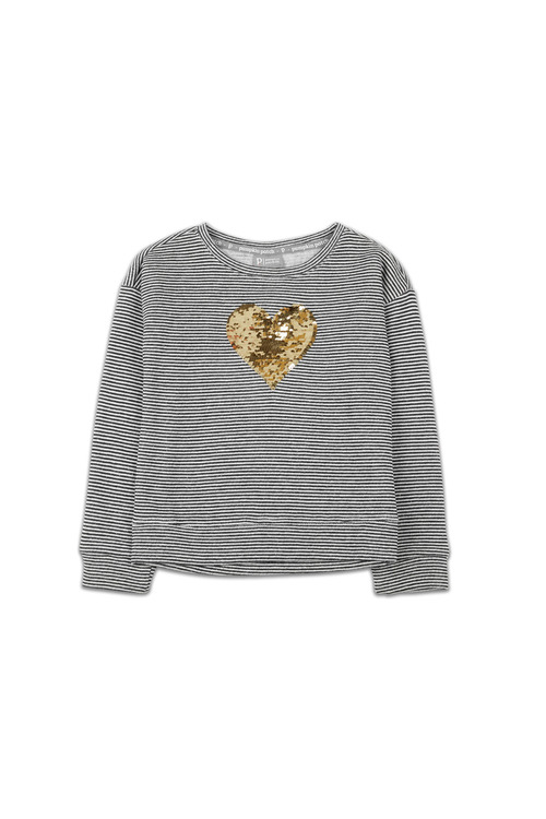 Pumpkin Patch Sequin Heart Stripe Sleeve Top