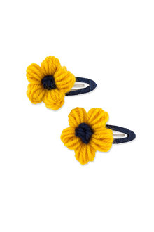Pumpkin Patch Yarn Wrapped Flower Hair Clips