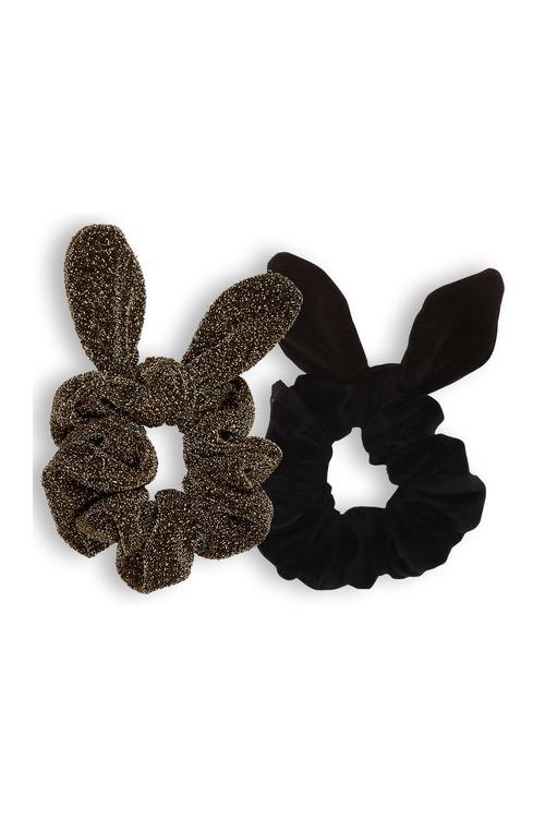 Pumpkin Patch Lurex Bunny Ear Scrunchies 2-Pack