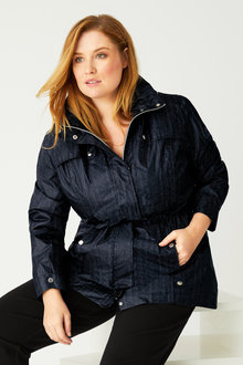 Plus Size - Isobar Plus Longline Lightweight Waterproof Jacket - 216713